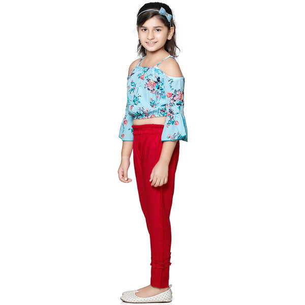 Casual Red Rayon Printed Top & Pant Set For Girls