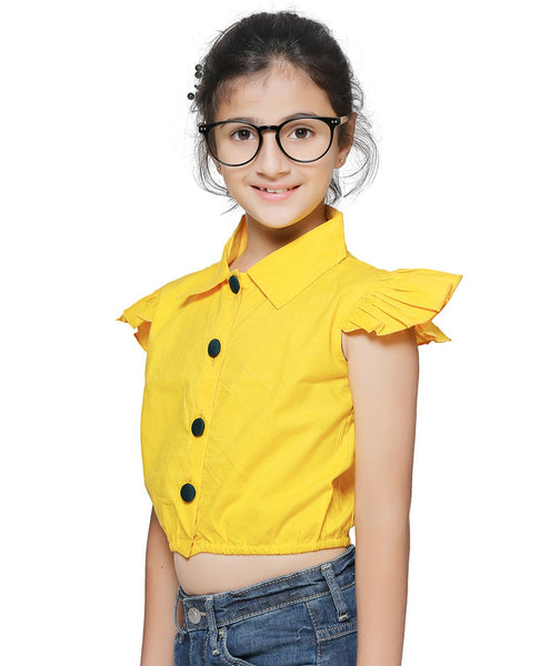 Cotton Blend Yellow Top for Girls in Half Sleeves & Collared Neck