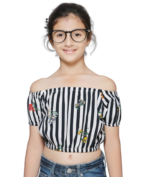 Polyester Black Top for Girls in Sleeveless & Off Shoulder
