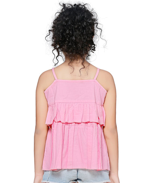 Cotton Blend Pink Top for Girls in Sleeveless & Round Neck