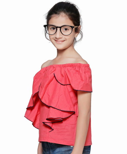 Rayon Dark peach Top for Girls in Sleeveless & Off Shoulder