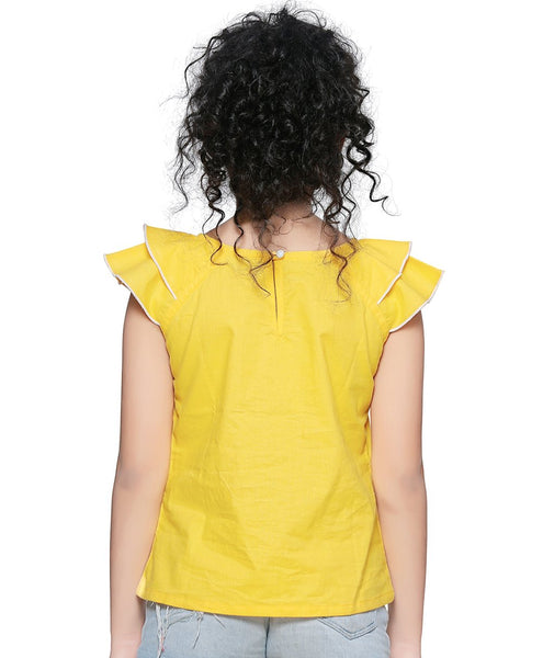 Cotton Blend Yellow Top for Girls in Short Sleeve & Round Neck