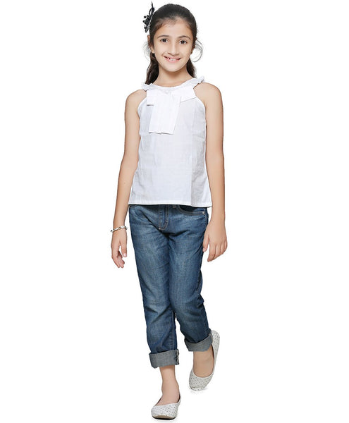 Cotton Blend White Top for Girls in Sleeveless & Round Neck