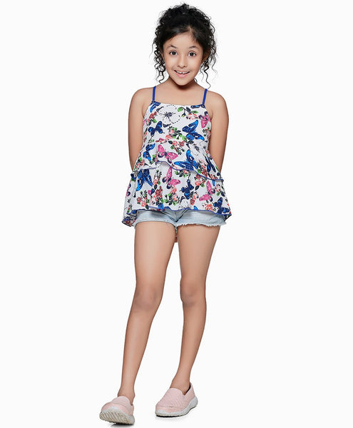 Polyester Blue Top for Girls in Noodle Strap & Square Neck