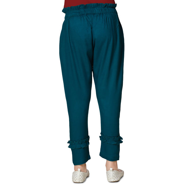 Petrol Green Casual Pant in Cotton Rayon Blend For Girls