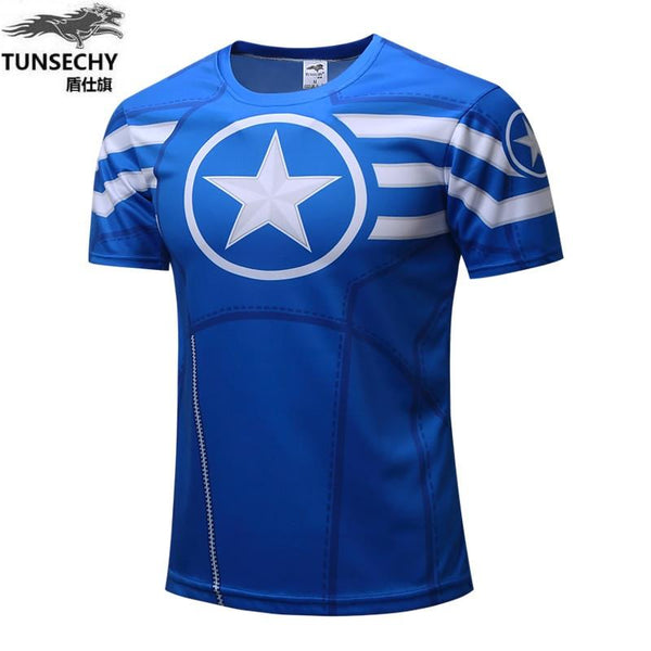 Captain America T-shirt 3D printed T-shirt for men short sleeved T-shirt for avengers iron man war gym suit for men Crossfit top