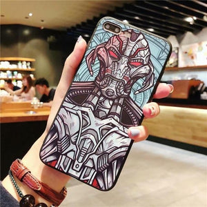 Cartoon marvel iron Man case for iphone X XS MAX XR 10 8 7 6 6s plus Emboss soft matte phone cover for iphone X