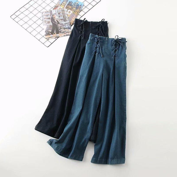 Causal High Waist Denim Wide Leg Pants Loose Women Blue Causal Washed Elastic Tied Pants