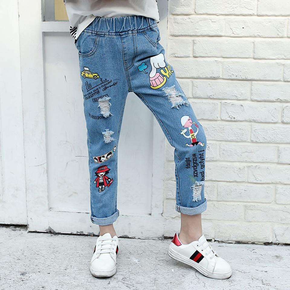 Children Jeans Boy Girl Ripped Jeans Fashion Jeans for Teenagers Girl Denim Jeans Trousers For Kids Hole Baby Girl Clothes