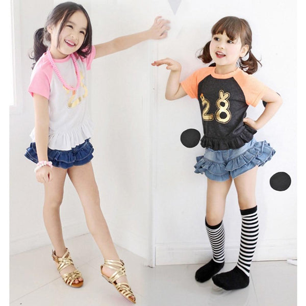 3-8T Baby Girls Shorts Summer Soft Denim Short Pants Girl Embroidery Animal Hot Jeans Kids Clothes Toldder Clothing
