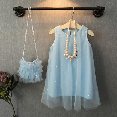 Cute Toddler Baby Flower Girl Princess Party Dress Bead Tulle Gown Fancy Dresses