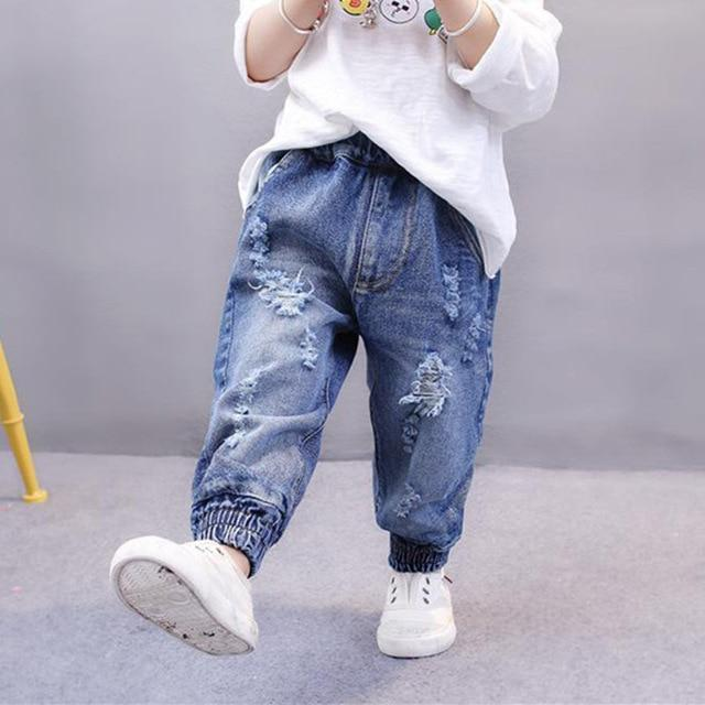 Children Pants 2018 Spring Baby Girls Boys Long Soild Color Ripped Loose Jeans Pants New Kids Denim Trousers 1-7Y