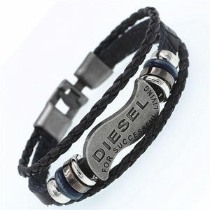 New Casual DIESEL Multilayer Braided Wooden Beads Bracelets For Women's