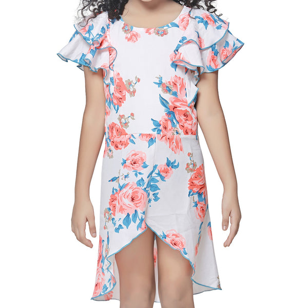 Casual White Floral Print A- Line Dress For Girls