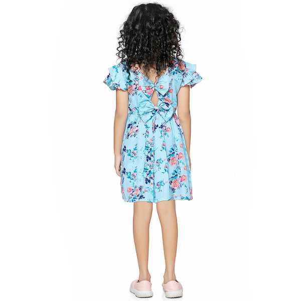 Casual Blue Floral Print A- Line Dress For Girls
