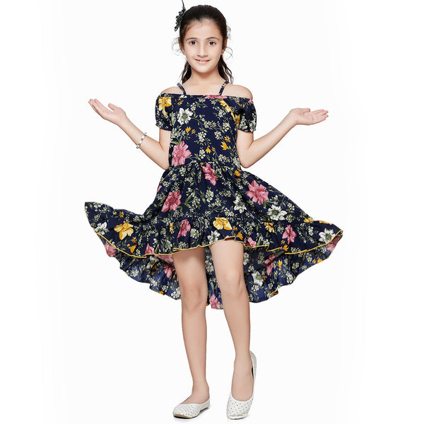 Casual Black Floral Print A-Line Dress For Girls