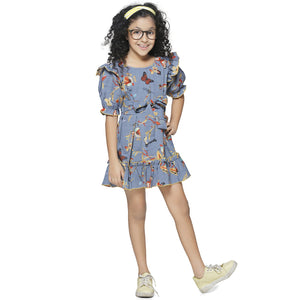 Casual Grey Animal Print A- Line Dress For Girls