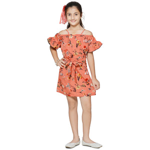 Casual Peach Orange Floral Print A- Line Dress For Girls