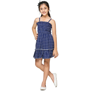 Casual Navy Blue Geometric Print A- Line Dress For Girls