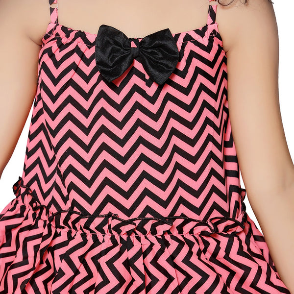 Casual Neon Pink Geometric Print A- Line Dress For Girls