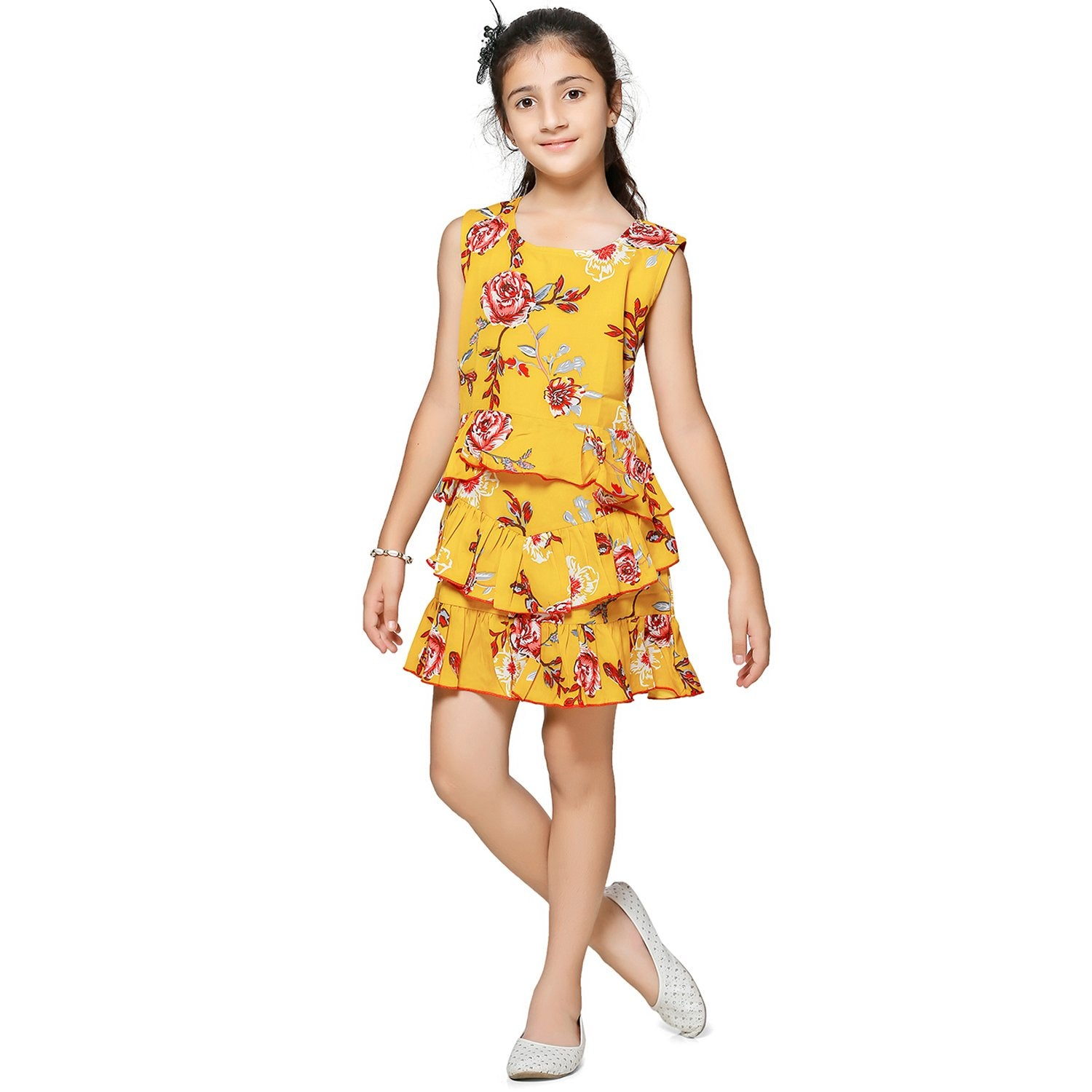 Casual Mustard Yellow Floral Print A- Line Dress For Girls