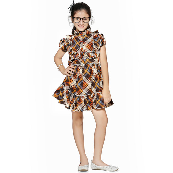Casual multicolour Geometric Print A- Line Dress For Girls