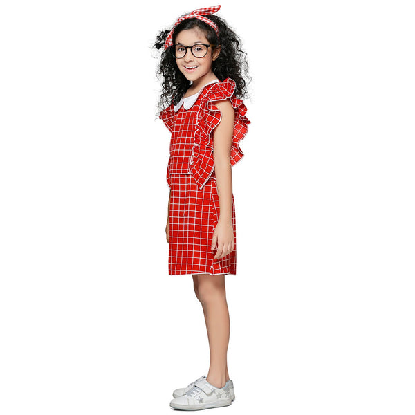 Casual Red Geometric Print A- Line Dress For Girls