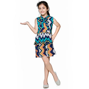 Casual Multicolor Geometric Print A- Line Dress For Girls