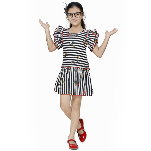 Casual White Striped A- Line Dress For Girls