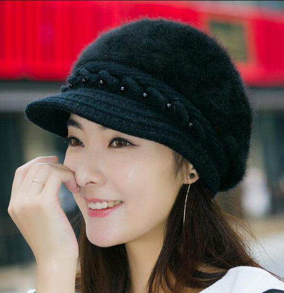 Elegant Women Hat Winter & Fall Beanies Knitted Hats For Woman Rabbit Fur Cap Autumn And Winter Ladies Female Fashion Skullies