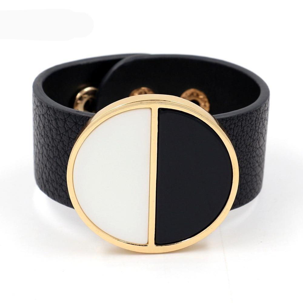 Exaggerated Geometric Wide Bracelet In Black For Women