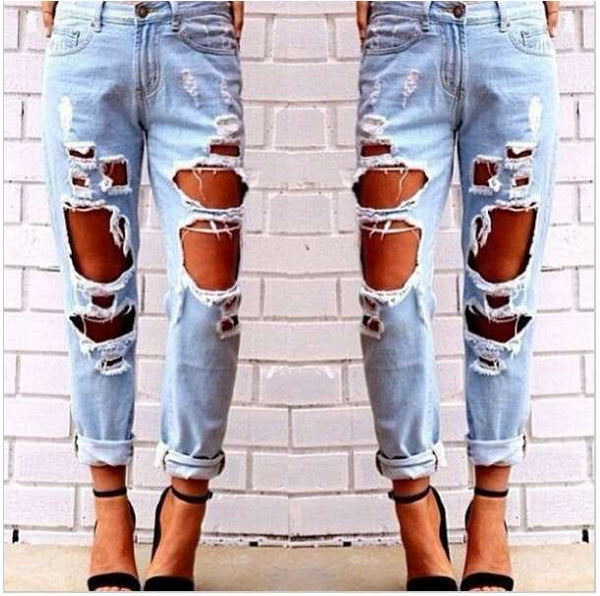 Woman's Sexy Tight Broken Hole Jeans Womens' Casual Elastic Cotton Pencil Pants