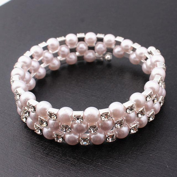 New Fashion Crystal Pearl Multi-Layer Wide Bracelet For Women