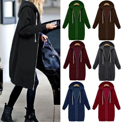 Women Long Hoodies Solid Zipper Sweatshirt
