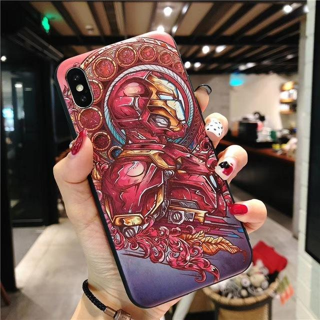Fashion 3D Marvel Angry Embossed Captain America Iron Man Heroes Case for iPhone X XS Max XR 5 5S SE 6 6S 7 8 Plus Cover
