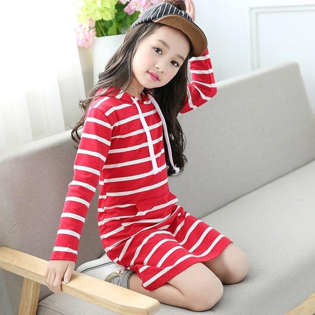 Fashion Autumn Girl Dress Hooded Long Sleeve Kids Clothes Toddler Casual Children Clothing Striped Tutu Baby Dresses Girls