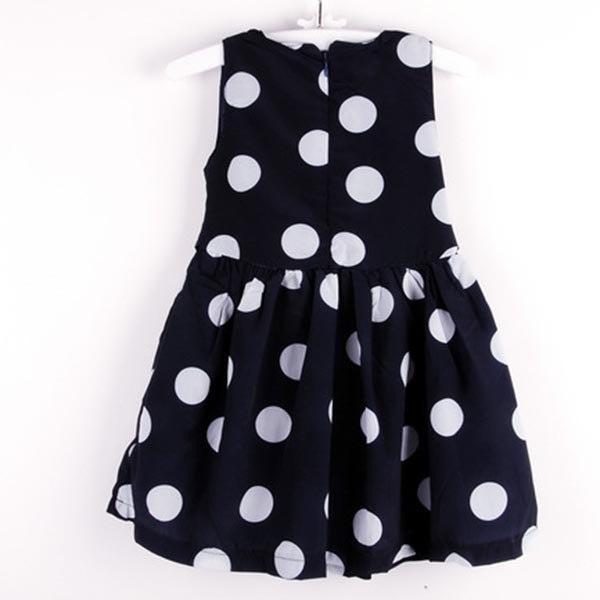 Fashion Cute Kids Toddlers Girls Sundress Polka Dots Chiffon Tunic Bowknot Belt Dress