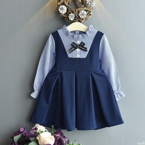 Fashion Girls Navy Dress Long Sleeve Autumn School Dress for Kids Girl Elegant Winter Dress Children Clothing