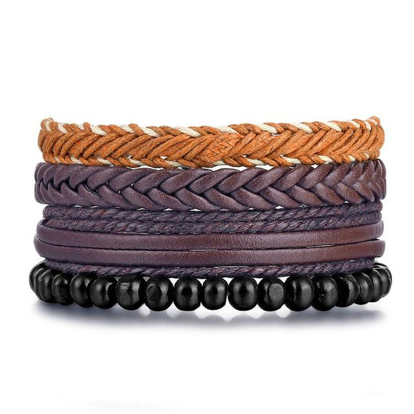 Vintage Braided Multilayer Rope Leaf Feather Men's Bracelet