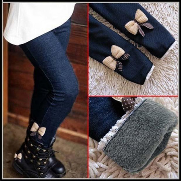 Fashion Spring Winter Casual Girls Bow Jeans Cotton Children Skinny Cashmere Pants Autumn Kids Clothes Warm Elastic Trousers