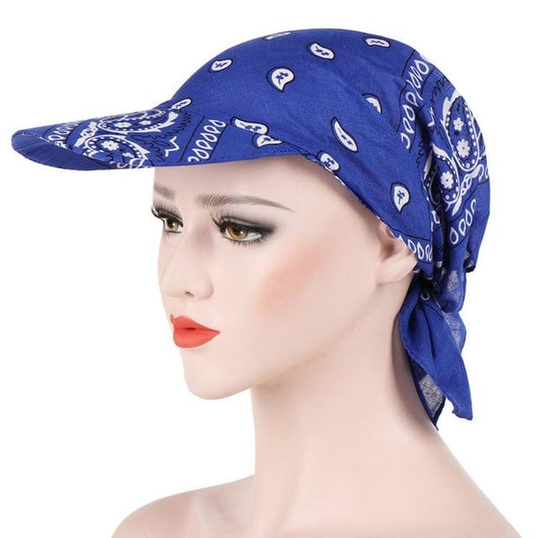 Fashion Womens Visor Hat Sunhat Printed Head Scarf Keep Warm Cap Topee Sun Hats for Women