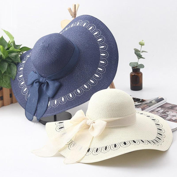 Female Summer Straw Hat Peacock Feather Embroidery Vacation Beach Cap Foldable Big Brim Sun Hat For Women Girls Elegant Fashion