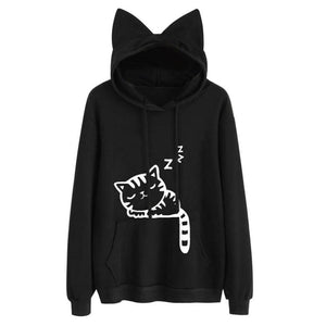 Sweatshirt Long Sleeve Hoody Cat Cute Ears Printed For Women