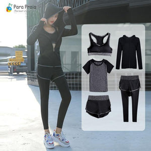 Five Piece Yoga Set Sportswear for Women Sports Bra Fitness Clothing Tracksuit for Women Gym Workout Crop Top Women