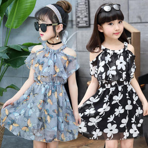 Flower Print Girls Dresses Summer Chiffon Kids Dresses Floral Children Clothing Princess Party Dress for Girls Clothes