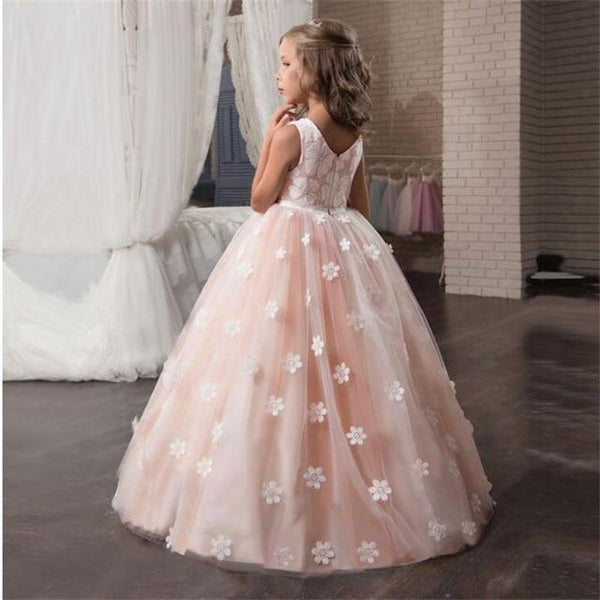Flower Girls Dress Wedding Pageant Bridesmaids Tulle Long Prom Halloween Party Elegant Princess Formal Dresses For Teen Girl