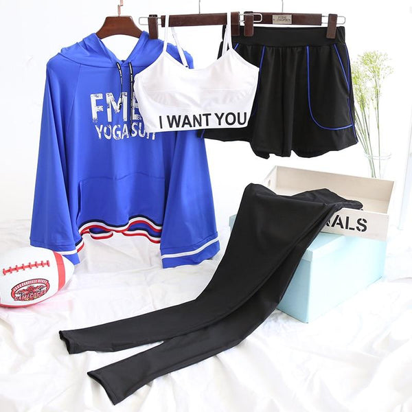 Four Pieces Women Sportswear Letters Loose Hoodie Bra Tight Leggings Shorts Yoga Sets Dancing Gym Clothes Plus M-2XL