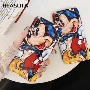 Funny Cartoon Minnie Mickey Mouse Soft TPU Case for iPhone X 7 8 Plus 6s 6 plus Silicone XS MAX Cover Accessories