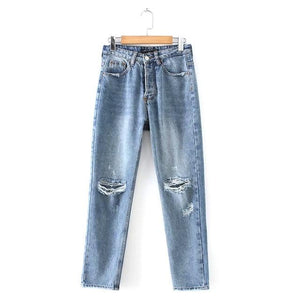 2019 Vintage High Waist Women's Straight Jeans Boyfriend Loose Ripped Jeans For Women Full Length Denim Pants