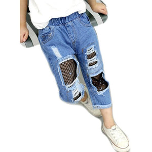 Girls Broken Hole Jeans Summer Fall Style 2018 Trend Denim Trousers For Kids Children Cotton Nets Cropped Pants